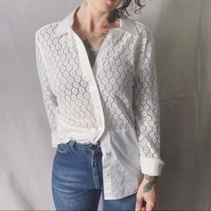 EQUIPMENT FEMME Lace Contrast Button Down Shirt